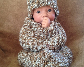 Brown and White Bohemian Baby Cocoon Photo Prop Set With Free Shipping