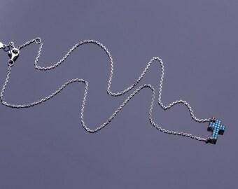 Turquoise Cross Necklace, Sideways Cross Necklace, Sterling Silver Sideways Cross Necklace, Silver Cross Pendant,Turquoise Jewelry, | 0235NM