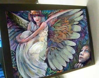 greeting card print of original art-  watching angels