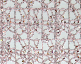 """Sun Lace Sequin Fabric PINK / 54"""" Wide / Sold by the yard"""