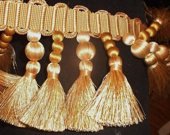 "SALE Houles Paris tassel & bobble gold trim ""Aurore"" 1 3/4yd x 3 1/2"" New stock for pillows, drapes etc."