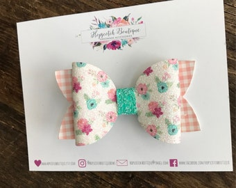 "Spring flowers  3.5"" Hair Bow Headband"