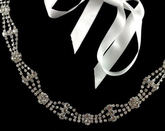 Crystal Bridal Headband, Gatsby Wedding Tiara, Art Deco Wedding Headpiece, Silver Crown, Bridal Halo, Gold Wreath, Gift for Her, IBIZA