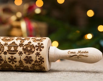 Christmas Rolling pin Engraved rolling pin Wooden pin Wooden rolling pin Wood rolling pin Embossing rolling Gift for christmas Gift for her