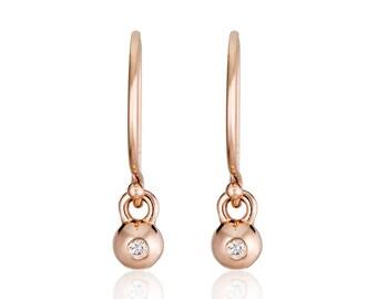 Rose gold earrings, Solid 14K rose gold Diamond Drop Earrings, Rose Gold Diamond Sphere Earrings, dangle earrings
