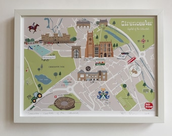 Cirencester map  A3 illustrated map