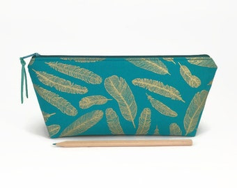 Pencil case, Gold, Pencil pouch, Student gift, Teacher gift, Zipper pencil case, Gift for her, College student gift