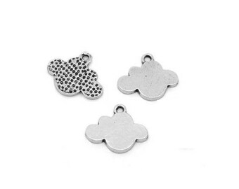 set of 5 charms silver cloud (A02)