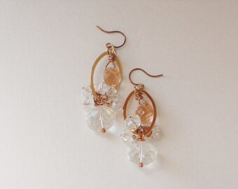 Chante' Briolette Rock Crystal Quartz Rose Gold and Brass Dangle Wedding Earrings