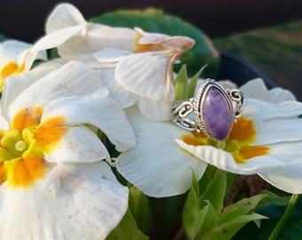 Silver-size marquise Amethyst ring