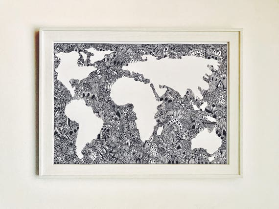 Zentangle world map print a3 gumiabroncs Images