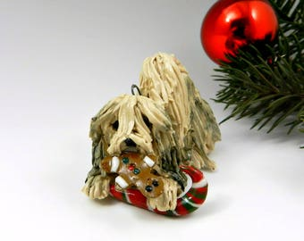 Lhasa Apso Christmas Ornament Figurine Cookie Porcelain