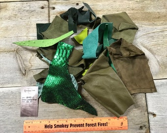 Green Color Salvaged Leather Scraps - Buckskin Leather Pieces - 1/2 Pound - Lot No. 180405-W