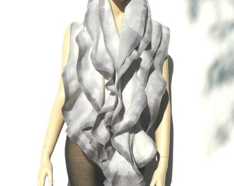 Felted ruffle collar scarf, gray merino wool hand Painted Holiday Fashion