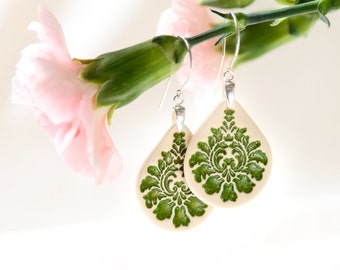 Green earrings Green dangle earrings Ceramic earrings Ceramic jewelry Long dangle earrings Sterling silver earrings Clay dangle Boho earings
