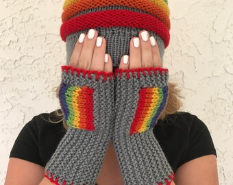 Rainbow Fingerless Mitts with Gray