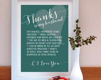 Thanks to my husband personalised anniversary print/ Anniversary Gift / Gift for Husband / Personalised Anniversary Gift / Anniversary