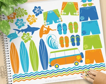 Surfing Clipart, Surfers, silhouette, summer, beach, surfboard, shark, tropical, Hibiscus, Commercial Use, Vector clip art, SVG Files