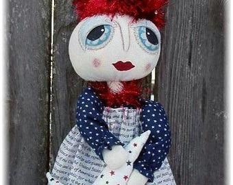 Primitive Folk Art Patriotic Americana Door Greeter Hanger Doll So Cute Pattern