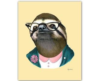 Sloth Lady art print by Ryan Berkley 5x7