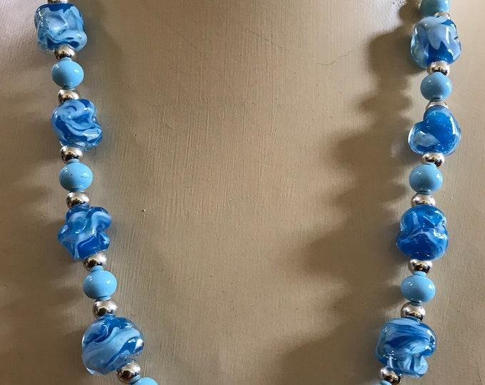 Aqua Blue Flame Work Necklace