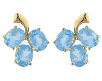 14Kt Yellow Gold Plated Blue Topaz Oval Shape Design Stud Earrings
