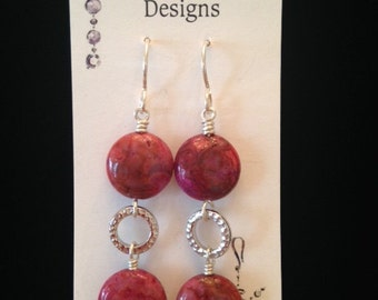 Pink Crazy Lace Adgate Dangle Earrings