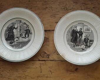 "2 antique plates talking theme ""vocation"" - earthenware, Digoin Sarreguemines-2 dessert flat with ""vocation"" theme - earthenware"