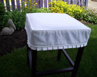 Square  Barstool Slipcover with Knife Pleats, Canvas Bar Stool Slipcover, Barstool Cover
