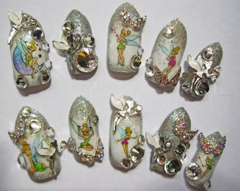 """3D deco nails- """"Pixiedust"""" - Tinkerbell inspired"""