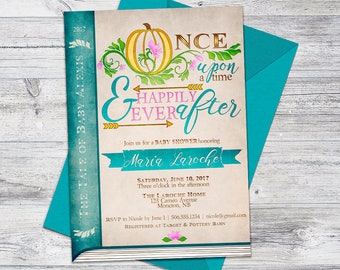 Printable Fairytale Invitation, Whimsical Baby Shower Invitation, Once Upon a Time, Storybook Invite