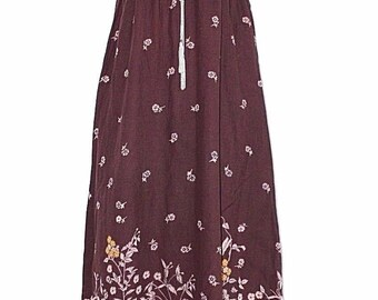 Vintage Brown Floral Viscose INDISKA Strap Spaghetti Empire Smock Maxi Ladies Women's Dress Size S / UK8 - UK10