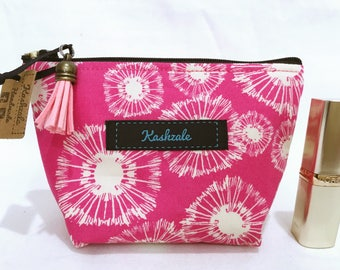 Hot Pink Dandelion Small Cosmetic Bag,  Small Make Up Bag, Makeup Bag, Small Toiletry Bag, Travel Bag, Coin Purse, Gift for her.