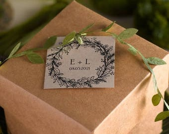Square Personalized Rustic Wreath Wedding Favor Tags (Pack of 48)
