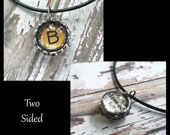 Soldered Glass Bubble Charm, Initial Pendant, Letter B, Dictionary Definition Charm, Collage Art Charm