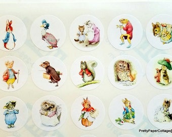 Beatrix Potter, Peter Rabbit, Story Book Character, Stickers, Baby Shower, Birthday, First Birthday, Favor Bag Sticker, 1.5 inch 30 stickers