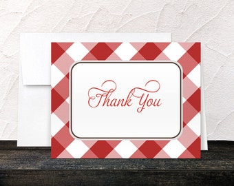 Red Thank You Cards - Gingham Country Southern Red and White Pattern - Printed Thank You Cards