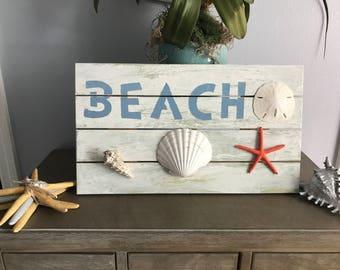 Wood Beach Sign, Nautical Decor, Bathroom Decor, Wood Coastal Decor