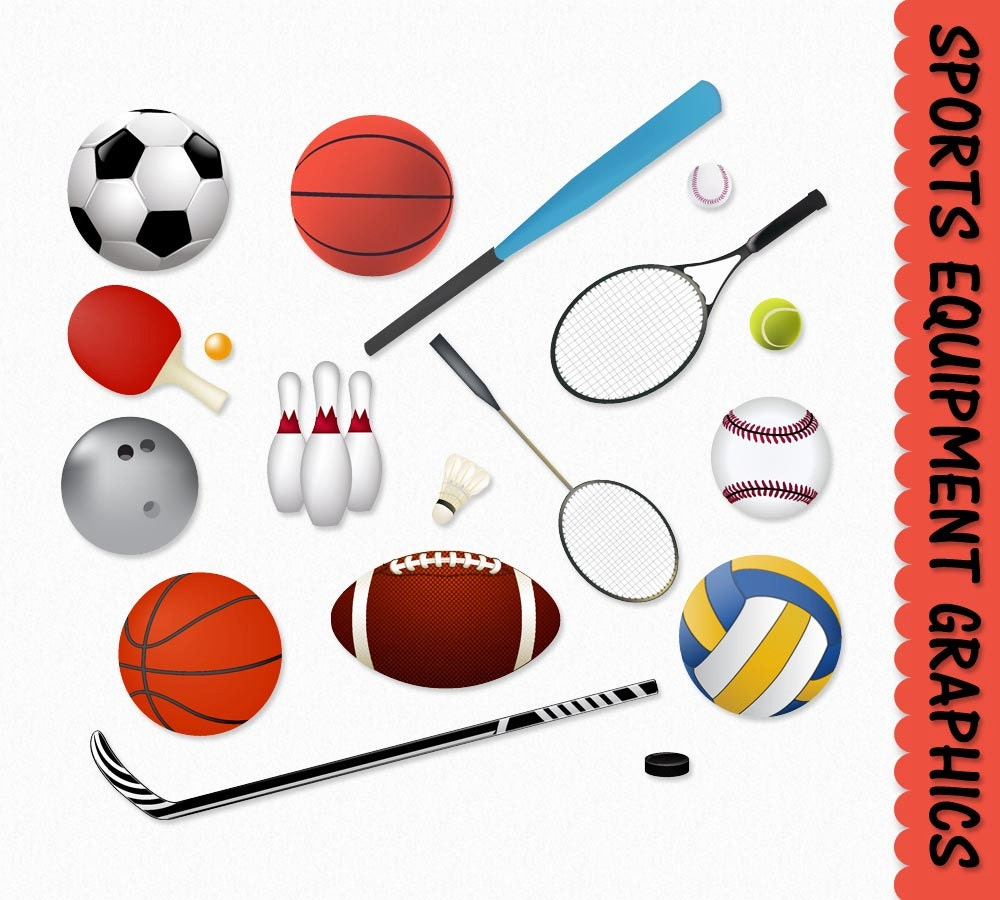 Sports equipment clip art clipart graphic scrapbook basketball for Sports clipart