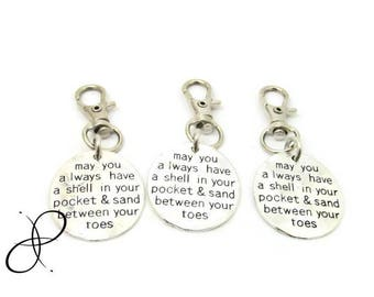 INVENTORY CLEARANCE! May you always have a shell in your pocket & sand between your toes keychain beach key clip, backpack tag, zipper charm