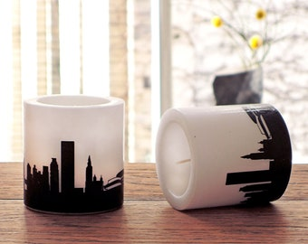 Set of 2 NEW YORK candles Skyline in plum, hostess gift, house-warming party, lampion NYC city print gift for New York lovers, by 44spaces