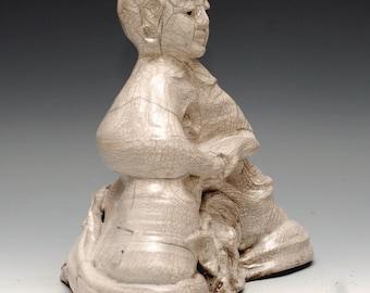 Large Buddha Statue Meditation in the Clouds in Crackle White Raku Ceramics