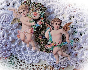 Reneabouquets Watercolor Vintage Cherub Premium Paper Scrapbook Embellishment, Die Cut  Choose Your Size