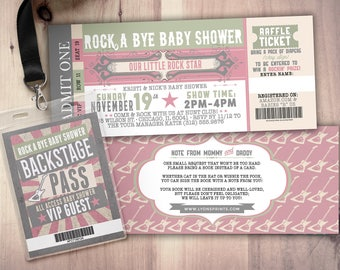 Passport and ticket baby shower invitation coed baby shower rock star concert ticket baby shower invitation coed baby shower invitation rock baby shower filmwisefo Image collections