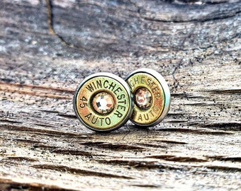 Southern Bullets. Bullet jewelry. Bullet earrings. Bullet studs. Guns. Winchester. Rustic. Wedding. Bridesmaids. Country girl. Bullets.Rusti