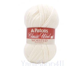 WINTER WHITE Wool Yarn. Patons Classic White Wool yarn. 100% Pure New Wool. Perfect for Felting! This is 3.5 ounce | 210yds of worsted 4 ±