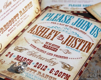 Turquise Western Invitation,vaudeville wedding invitation,Western carnival wedding invitation,texas invitation,classic western wedding,hatch