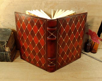 Leather Journal / Blank Book - Red Leather, Gold Decoration, Passions