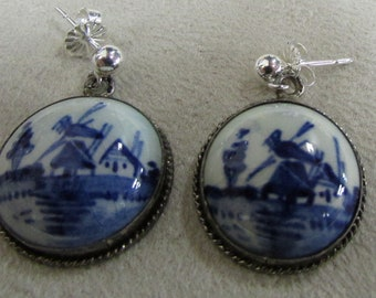 Sterling Silver and Blue Delft Dangle Post Earrings