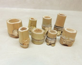 "8 Golden Bamboo ""pots"" 3/4"" - 1 5/8"" tall, Mini planters, Fairy gardens, Crafting, Assemblage, Mixed Media"